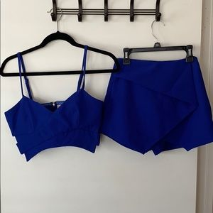 Bright Blue Asymmetrical Shape Two Piece Set